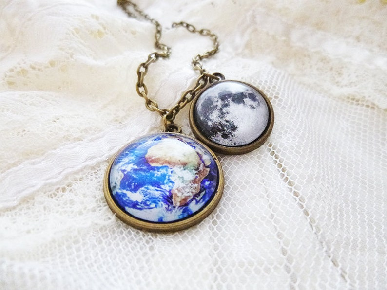 Science Planet Necklace Solar System Necklace Solar System Space Jewelry Universe Earth and Moon Astronomy Earth and Moon Necklace