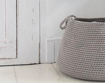 Large cotton beige basket | storing basket | nursery basket | beige nursery decor | large beige bag | crocheted basket | laundry basket