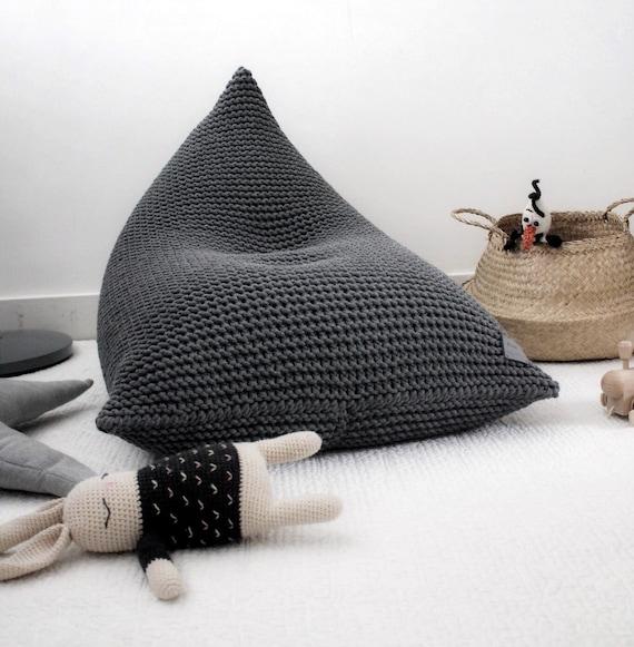 Sensational Dark Grey Knitted Bean Bag Knit Bean Bag Knit Pouf Kids Bean Bag Knit Chair Pyramid Bean Bag Knitted Floor Seat Ncnpc Chair Design For Home Ncnpcorg