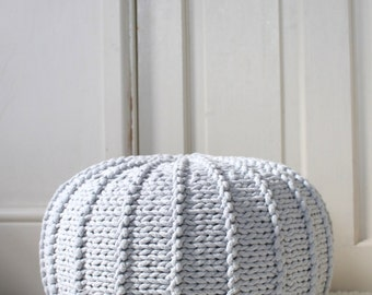 Small light grey floor pouf ottoman   knitted pouf   knit pouf   nursery decor   knitted ottoman   footstool   nursery pouffe   baby pouffe