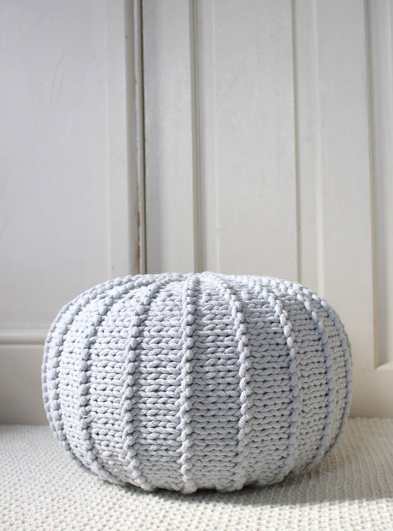 Small Light Grey Floor Pouf Ottoman Knitted Pouf Knit Pouf Etsy Gorgeous Knitting A Pouf