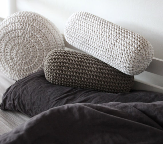 ECRU knitted cushion knitted bolster chunky neck cushion housewarming gift Chunky knitted neck cushion home decor