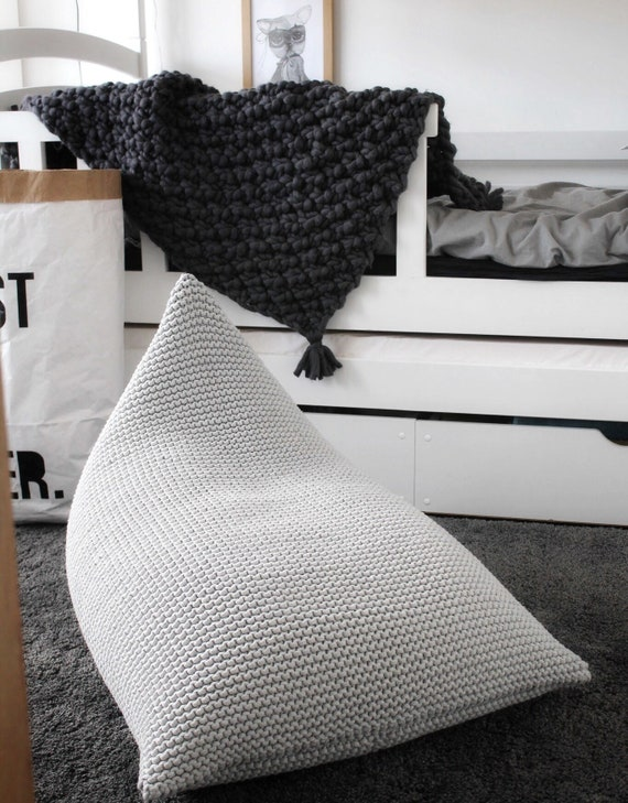 Pleasing Light Grey Kids Size Knitted Bean Bag Knit Bean Bag Grey Knit Pouf Kids Bean Bag Knit Chair Pyramid Bean Bag Knitted Floor Seat Ibusinesslaw Wood Chair Design Ideas Ibusinesslaworg