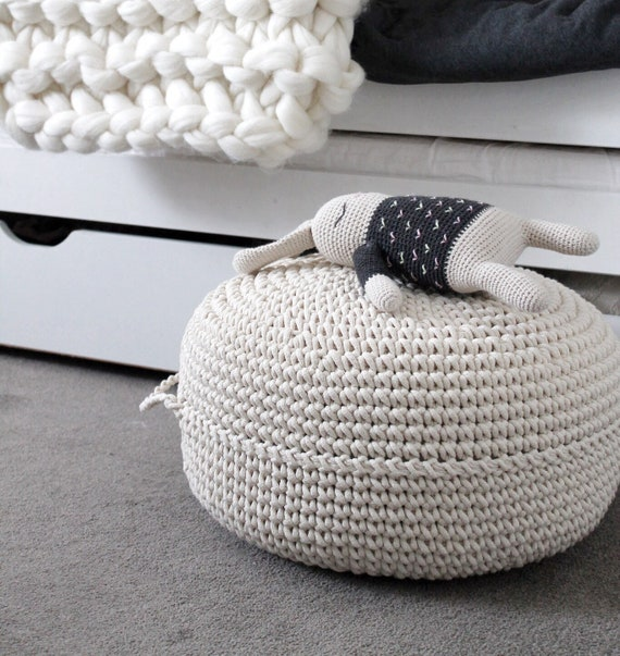 Fine Ecru Floor Pouf Ottoman Crocheted Pouf Crochet Pouf Nursery Decor Crocheted Ottoman Footstool Nursery Pouffe Baby Pouffe Zuri Caraccident5 Cool Chair Designs And Ideas Caraccident5Info