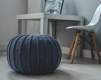 Medium denim blue floor pouf ottoman | knitted pouf | navy blue knit pouf | knitted ottoman | footstool | nursery pouffe | baby pouffe