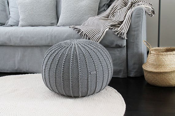 Fantastic Knitted Pouf Ottoman Footstool Grey Knitted Pouf Nursery Pouffe Glider Pouf Nursery Ottoman Size M Machost Co Dining Chair Design Ideas Machostcouk