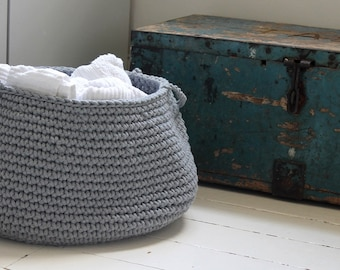 Crochet Grey Basket, Neutral Nursery Decor, Crochet Home Decor, Crochet Storage Basket, Toys Storage Bag, Crochet Storage Bag