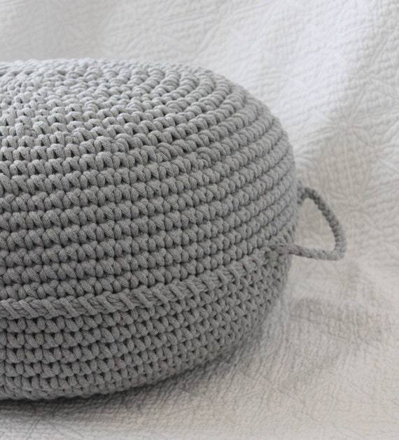 Amazing Light Grey Floor Pouf Ottoman Crocheted Pouf Crochet Pouf Nursery Decor Crocheted Ottoman Footstool Nursery Pouffe Baby Pouffe Zuri Caraccident5 Cool Chair Designs And Ideas Caraccident5Info