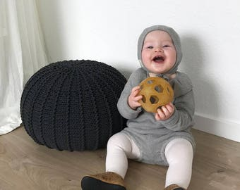 Small graphite floor pouf ottoman | knitted pouf | knit pouf | nursery decor | knitted ottoman | footstool | nursery pouffe | baby pouffe