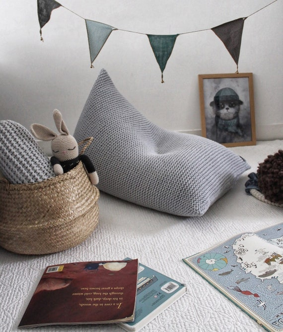 Fantastic Light Grey Kids Size Knitted Bean Bag Knit Bean Bag Grey Knit Pouf Kids Bean Bag Knit Chair Pyramid Bean Bag Knitted Floor Seat Ncnpc Chair Design For Home Ncnpcorg