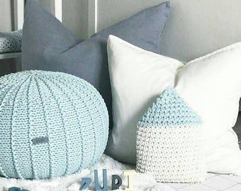 Small mint knitted floor pouffe | mint pouf | floor ottoman | knitted pouf | knit pouffe | pouf ottoman | nursery pouffe | nursery pouf
