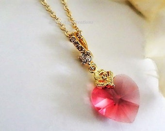 Pink Heart Necklace Gold Swarovski Crystal Pendant For Mom Birthday Gift Girlfriend Jewelry Wife Anniversary