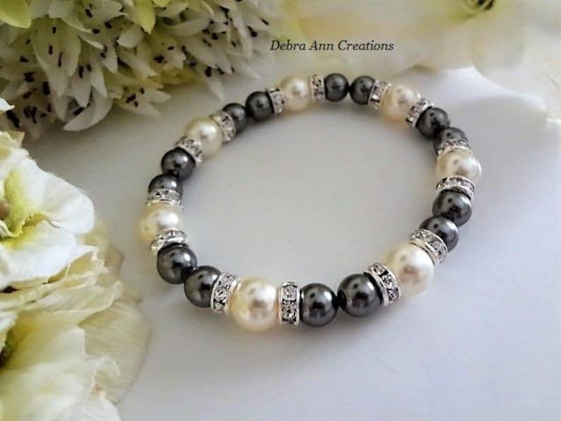2f5c2296b Grey Pearl Bracelet Chunky Dark Grey Bridesmaid Jewelry Gray | Etsy