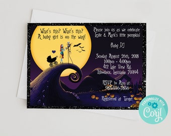 Nightmare before christmas baby shower invitations etsy nightmare before christmas diy 5x7 baby shower invitation template edit yourself using corjl filmwisefo