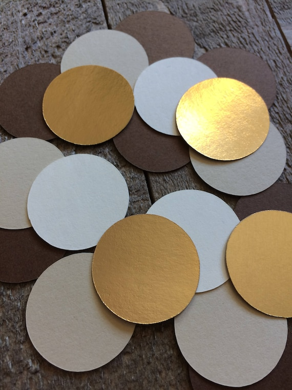 Coffee Confetti Gold Foil Brown Cream Circle Confetti Bridal Etsy