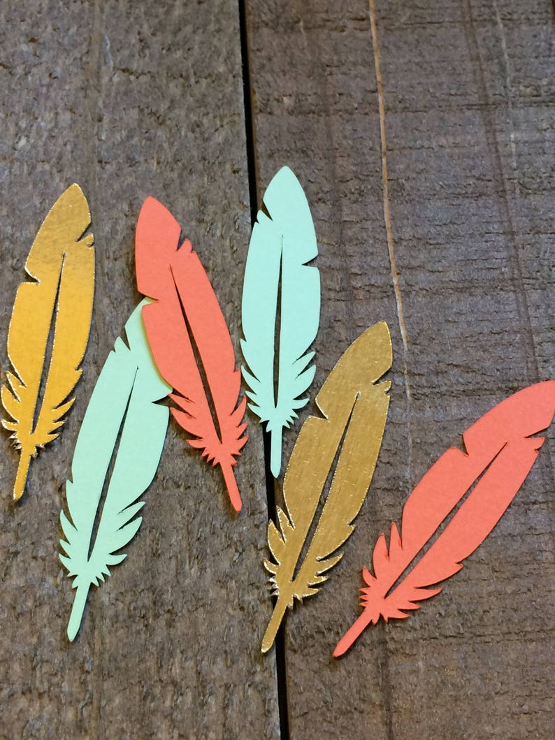 Mint Coral Gold Feather Table Decor Scatter Decoration Etsy