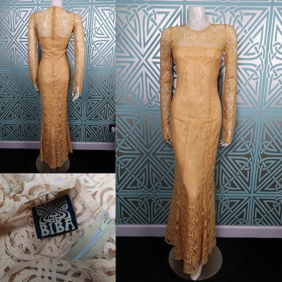 Original 1970/71 Biba Couture Golden Logo Lace Max
