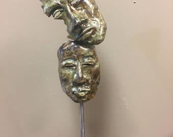 """Clay Raku Sculpture """"Helpless Protector"""""""