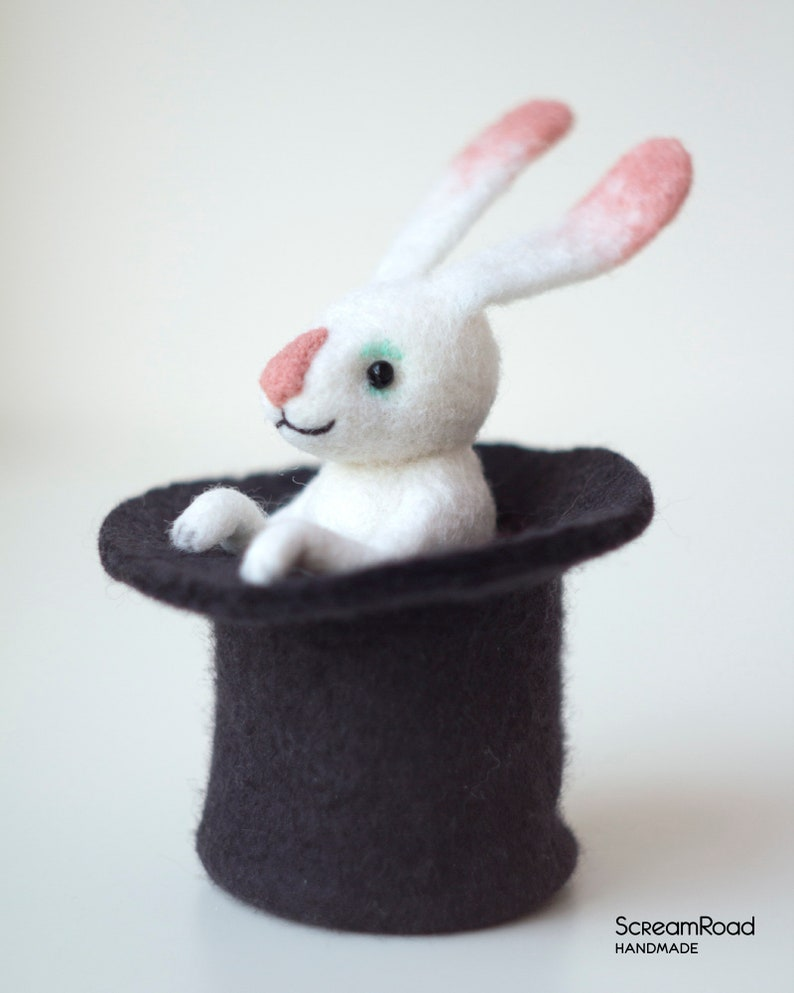 2115acb4c45a2 White rabbit in a hat   Needle felted hare   Felted bunny toy