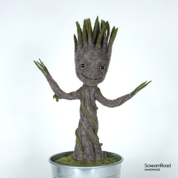 Groot In A Pot Needle Felted Baby Groot Groot Dancing Etsy