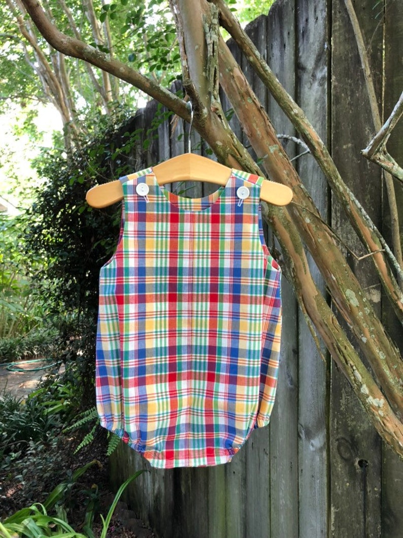 Baby Boy/'s Bubble Romper Bright Plaid ready to ship size 18 month