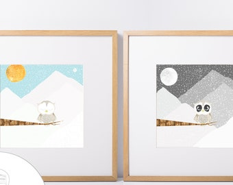 """Snow Owl Set of 16"""" Prints for a Nursery or Child's Room, One Sleepy Owl and One Night Owl"""