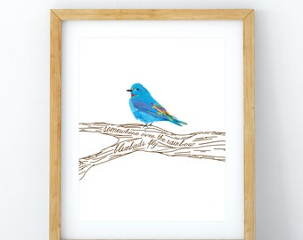 Somewhere Over the Rainbow Bluebirds Fly Print/Poster