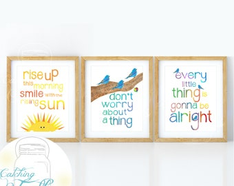 """Three little Birds Wall Art Set of 3 8"""" x 10"""" Prints Don't Worry, Every Little Thing is Gonna be Alright, Marley inspired"""