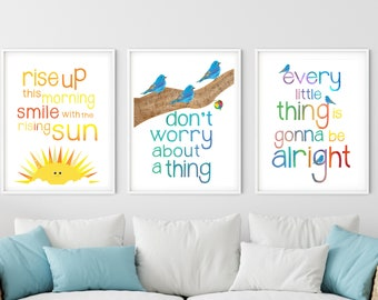 """Three little Birds Wall Art Set of 3 16"""" x 20"""" Posters Don't Worry, Every Little Thing is Gonna be Alright, Marley inspired"""