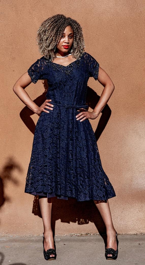 1950s Vintage Blue Beaded Lace Short Sleeved Dress