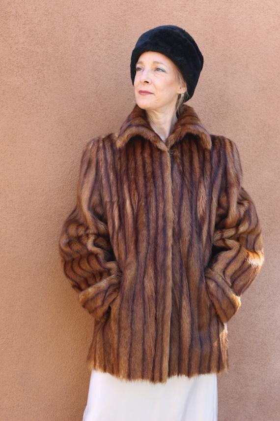"1940s Vintage ""Evans"" Mink Swing Coat with Turnbac"