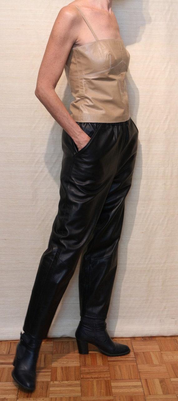 1980s Vintage Mary Dzenuits Black Leather Pants