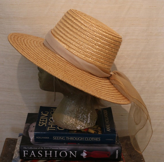 1950s Vintage Square Top Structured Straw Sun Hat