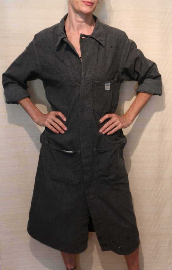 1940s Vintage Hercules Charcoal Gray Shop Coat
