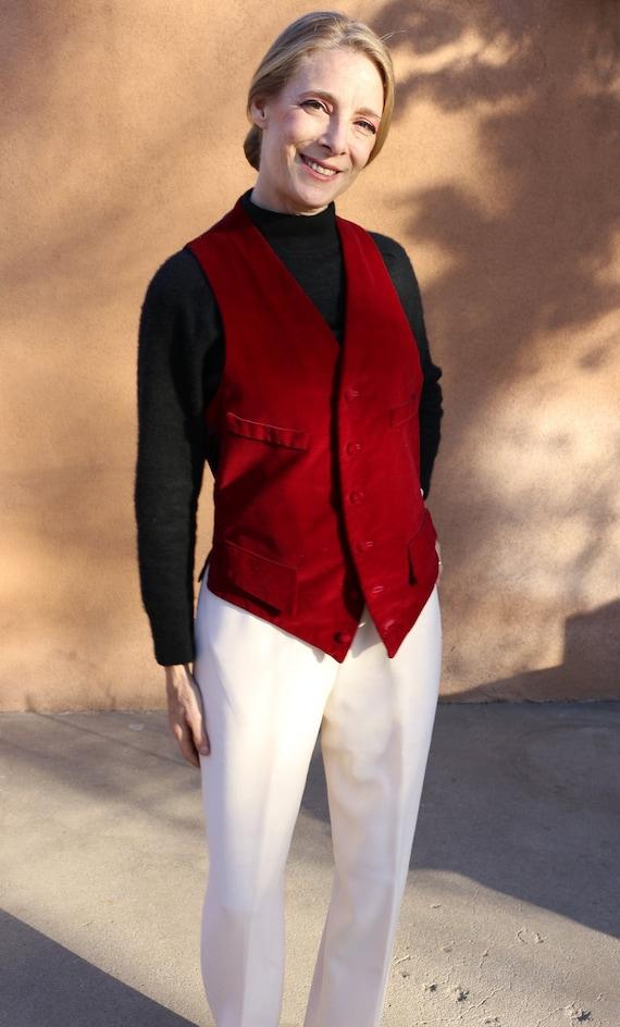 1970s Vintage Raspberry Red Velvet Waistcoat Vest