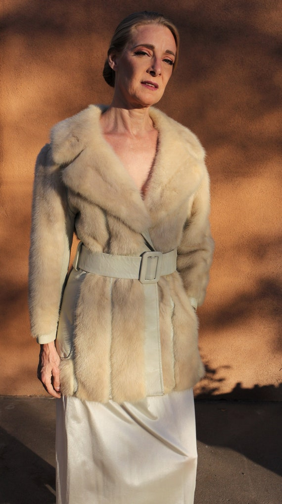 """1960s Vintage """"Winter White"""" Mink Fur and Leather"""