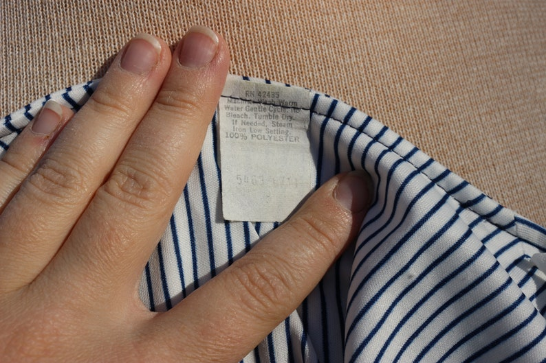 1970s Vintage White /& Blue Striped Long Sleeve Dress with Smocked Bodice and Sailboat Print