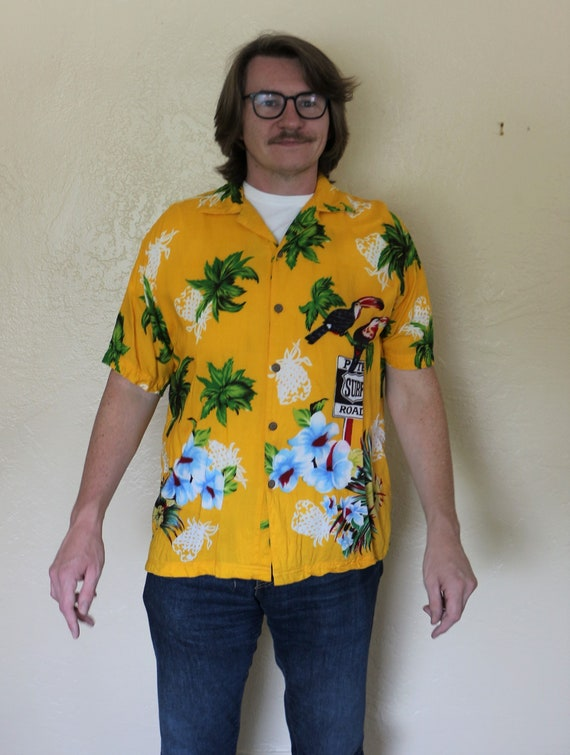 1980s Vintage Thums Up for Him Hawaiian with Yello