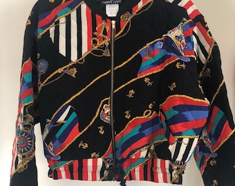 1314b8ff4f8 1980 s Black Printed Cropped Quilted Carole Little Paris Jacket