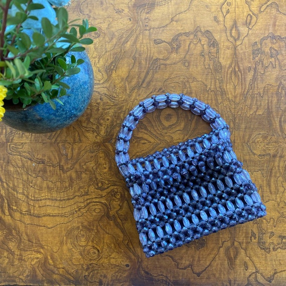1960's Beaded Charcoal Gray Mini Purse