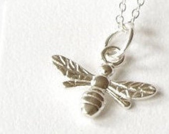 Sterling Silver bee necklace, gift for women, gift for her, bumble bee, nature jewelry,