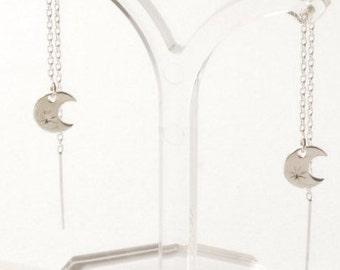 Constellation silver moon earrings, ear threads, constellation jewellery, theader earrings, celestial earrings, celestial jewelry