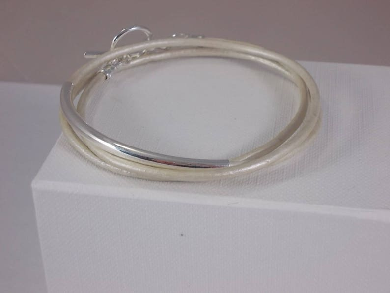 Cream metallic leather bracelet leather friendship bracelet image 0