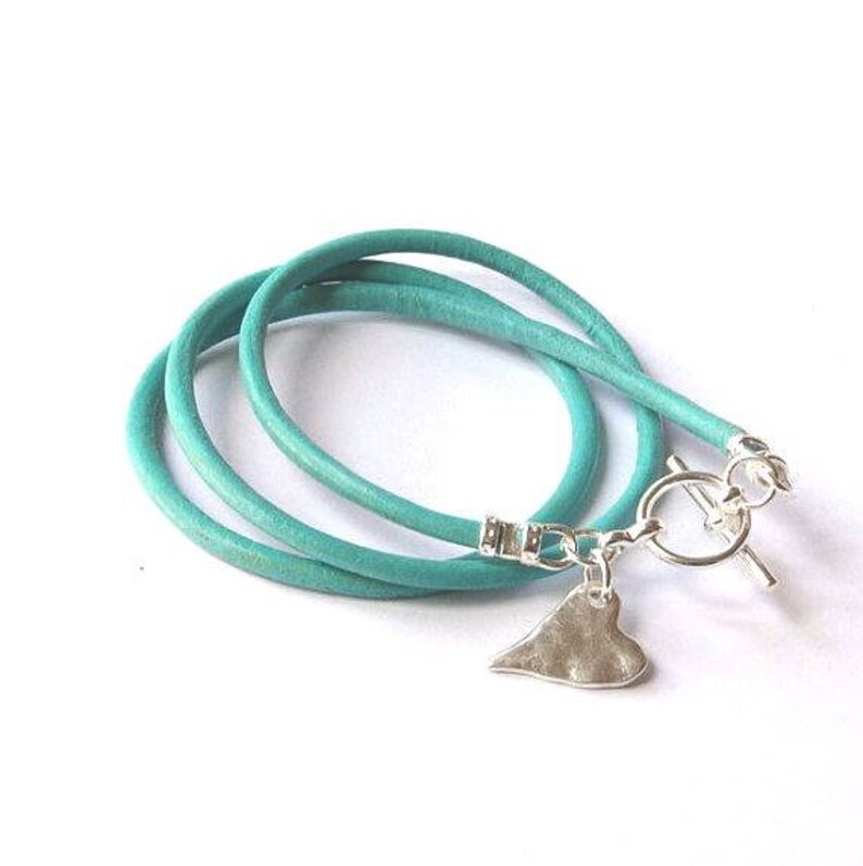 Leather silver heart bracelet heart charm bracelet love image 0
