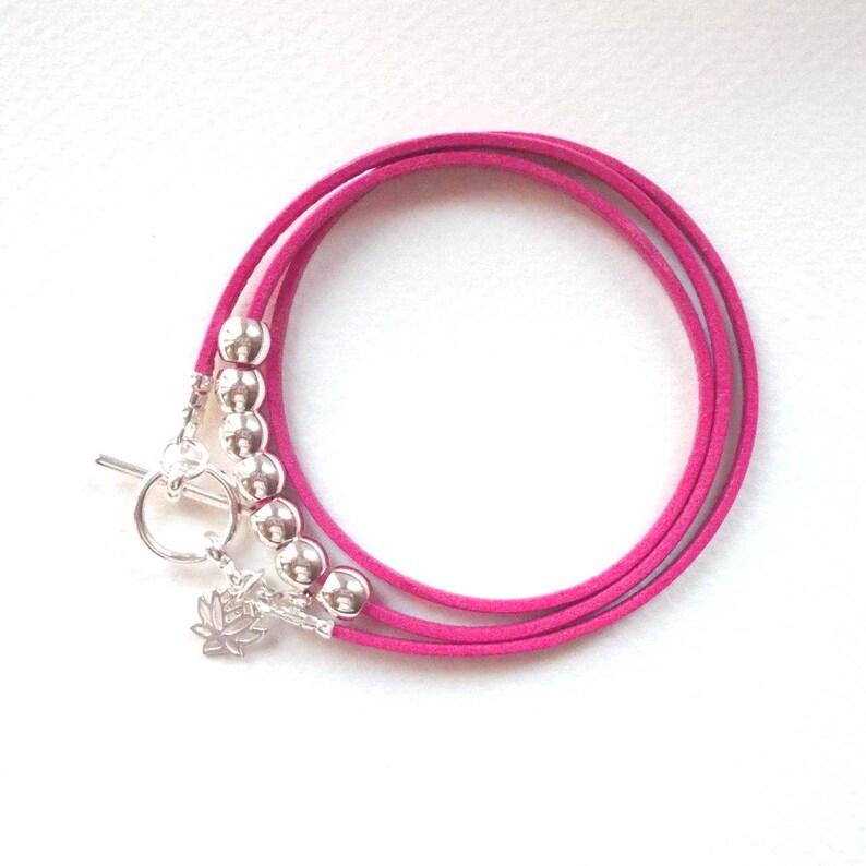 Lotus flower bracelet wrap bracelet friendship bracelet image 0