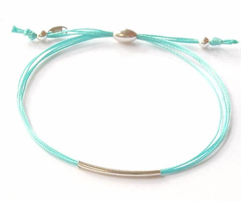 Turquoise cord and silver bracelet BFF bracelet silk cord image 0