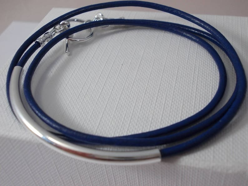 Blue leather wrap braceletgift for her silver tube bracelet image 0
