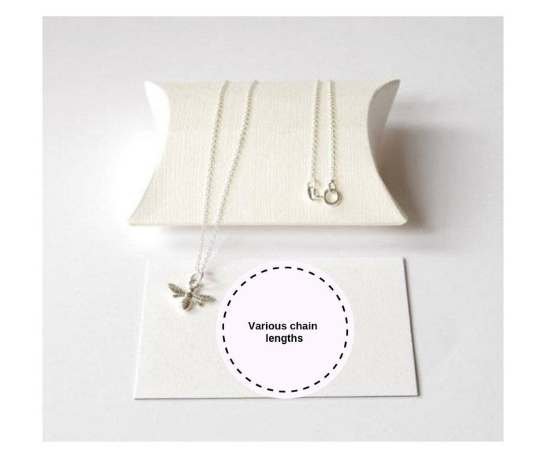 Sterling Silver bee necklace gift for women gift for her image 0
