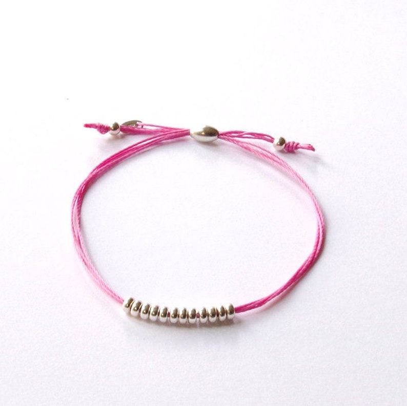 Silver cord bracelet silk braid bracelet BFF woven image 0