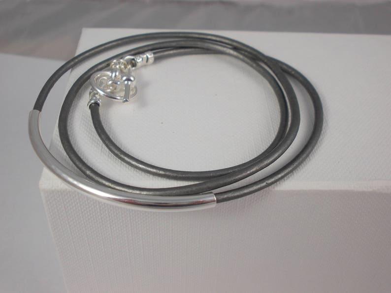 Leather braceletmetallic leather. wrap bracelet tube image 0